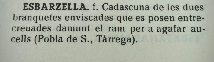 Definició d'esbarzella segons l'Alvover-Moix, o Diccionari català-balear-valencià.